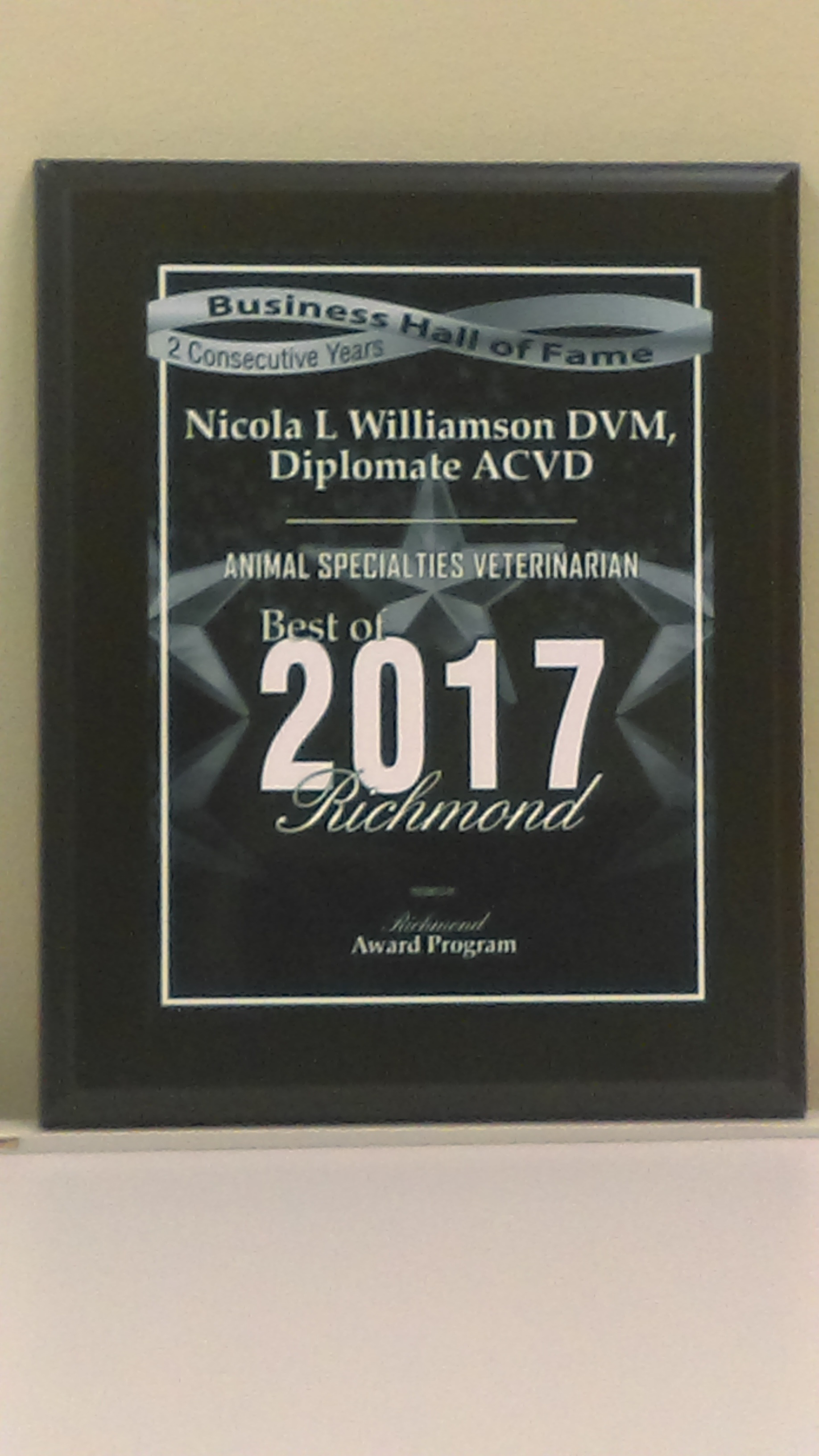 2017 Business Hall of Fame Plaque - 2 Consecutive years